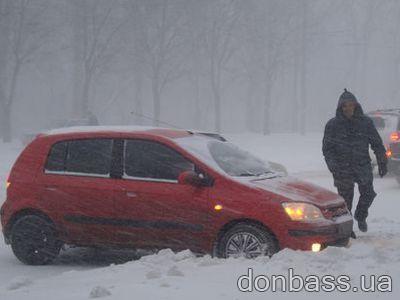 Донбасс: кошмар на дорогах, порывы электросетей, остановлены котельные