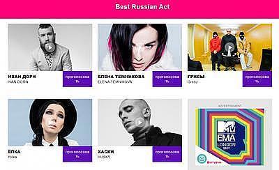 Украинский певец и киевская группа номинированы на премию MTV от России